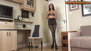 Kellyanne ass Slender brunette kellyann takes off dress and shows pussy in pantyhose