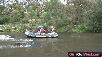 Hairy amateur girl fingered in rafting threesome Vorschaubild