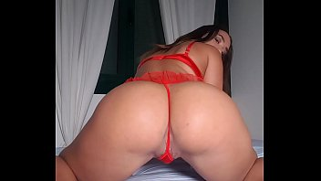 Big ass babe Briana Banderas with sexy red lingerie and high heels, suck and ride dildo