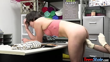 Short haired teen shoplifter Angelina Red fingered and punish fucked on CCTV