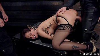 Busty Milf slave has dp training