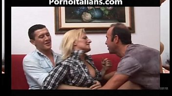 Italian mature blonde fucked by two hunks! Italian mature blonde fucked