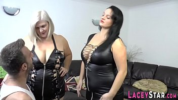 Gran in leather pounded in dominating 3way