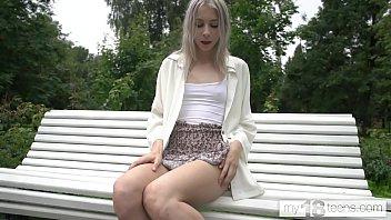 MY18TEENS - Carolina Sun walks in park and gets naked