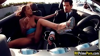 Smokin hot ebony gets fucked on the tophood of a red car