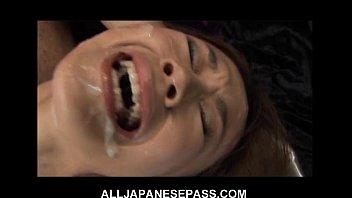 This fine Japanese babe gets a hot bukkake