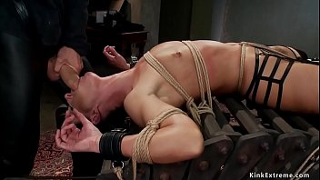 MILF anal fucked in threesome bondage