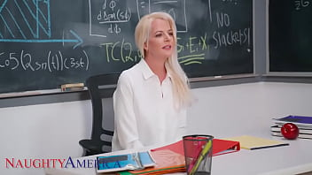 Naughty America - Professor Anita Blue LOVES to ride young college cock in her classroom