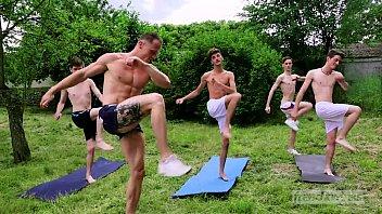 Gay coach videos Bukkake session in the garden