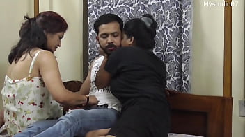 Desi Sexy Stepmothers Sex Fantasy With Daughters Boyfriend!! Threesome Sex