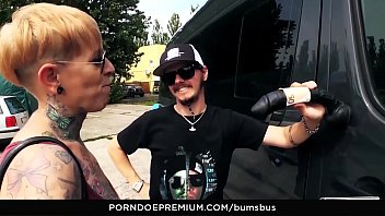 BUMS BUS - The tattooed German Lady Kinky Cat has hot sex in traffic