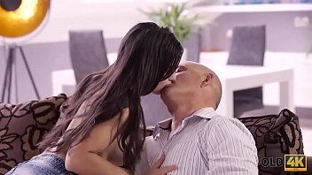 OLD4K. Bald handsome dad has powerful cock for busty brunette 10 min