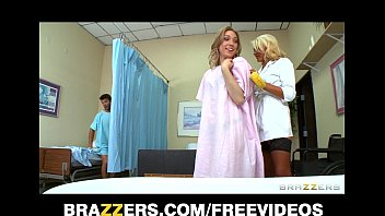 Incredibly sexy blond nurse gives her patients a sponge bath