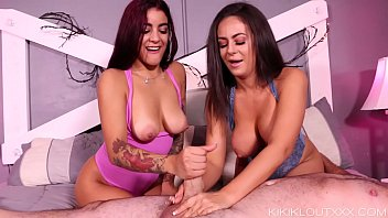 Cute BFFs Give Step-Dad A Double Handjob