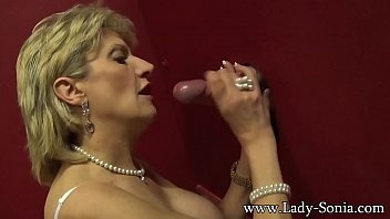 Titless mature glory hole Busty british mature lady sonia visits a gloryhole