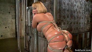 Big Ass Blonde In Tight Bondage Toyed