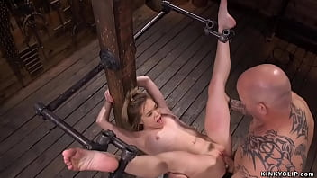 Petite blonde rough banged in bondage