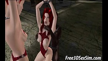 Two 3D redheads fucked hard by an ebony stud 4 min
