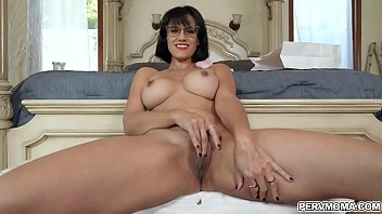Penny Barber invites her stepson Alex Jett in her room and watches her as she maturbates her wet MILF cunt while Alex is jerking his cock.
