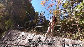 Japanese brunette, Maki Hojo is naked and masturbating outdoors, uncensored