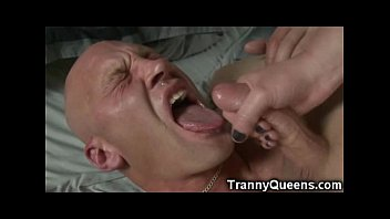 Tranny sucking own penis Tranny teen made him lick his own cum