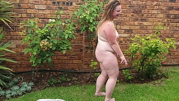 Big fat girl enjoying a cigarette outside while being naked 5 min