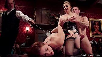 Lesbian slaves fucked in bdsm orgy
