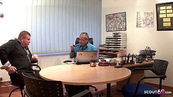 Two old Guys Fuck Teen with Glasses at Office - GERMAN RETRO 25 min