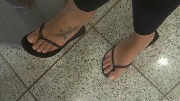 Goddess Grazi perfect feet in flip flops