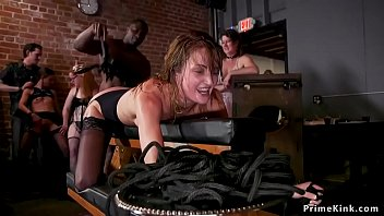 Cruel pussy and tit caning