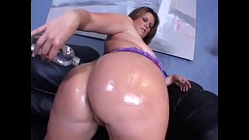 Brunette with curvacious body Lisa Sparxxx likes to oil her body before well hung stud pokes her wet cunt and drops his load on her huge natural boobs