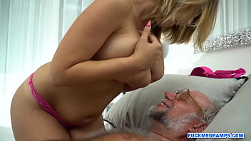 Ugly grampa fucks a stunning blonde with big tits