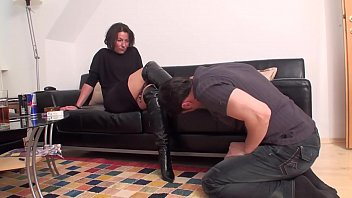Femdom Ladies Order Slaves To Lick Their Boots