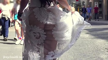 Transparent latex panties Funk city - jeny smith walks in public in transparent dress without panties