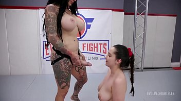 Rough lesbian fight as Jenevieve Hexxx beats Kyra Rose and strapon fucks her