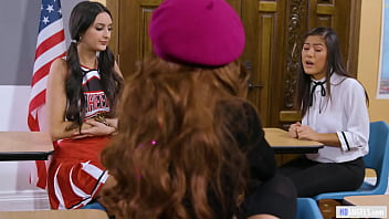 Schoolgirls Having Lesbian Threesome In Detention - Kendra Spade, Eliza Ibarra, Vanna Bardot