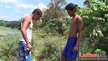 Latin gay boys strip outdoors to blow cocks