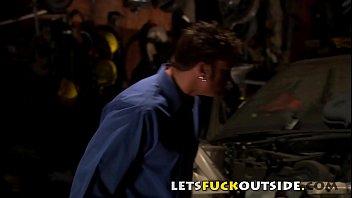 Lets Fuck Outside - Hot Mecanic Babe Fucked on the Hood of a Car thumbnail