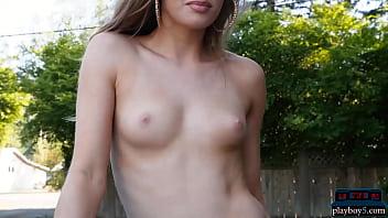 Petite Playboy model Maija Riika sensual outdoor striptease