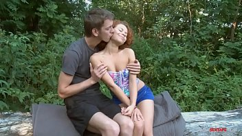 Curly redhead teen fucks step brother outdoor!
