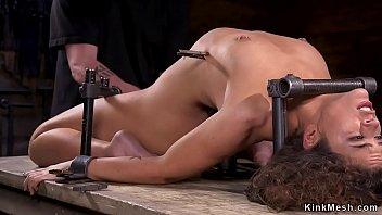 Babe in backbend device bondage