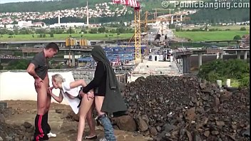 Very Passionate Young Blonde Girl Fucked In Public Sex Threesome By 2 Big Dicks