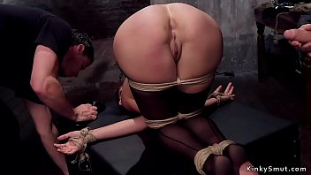 Master in leather fucks busty trainee