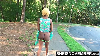 Bare bottom in public - To attract some dick i walk flash my ass outdoors, cute ebony msnovember walking and flashing booty cheeks in public exhibition on sheisnovember