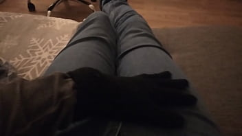 ASMR FOOT and LEGS with jeans scratching moaning