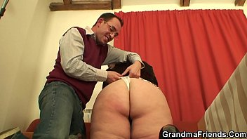 Big fat old porn woman Two dudes with old big boobs woman