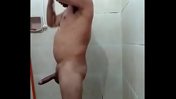 construction worker taking a shower