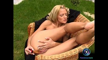Short hair blondes porn Short haired blonde christel dildoing naked at the garden