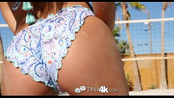 Tiny4k - Hazel eyed petite Jill Kelly rides thick cock outdoors