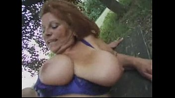 Granny BBW Ildiko Fucks Guy on Park Bench